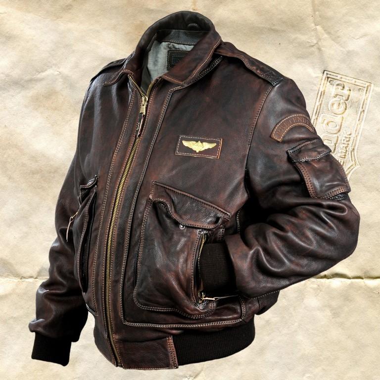 cc6e3815cd2a Мужская кожаная куртка «Феникс коричневый стиранный» - купить в москве